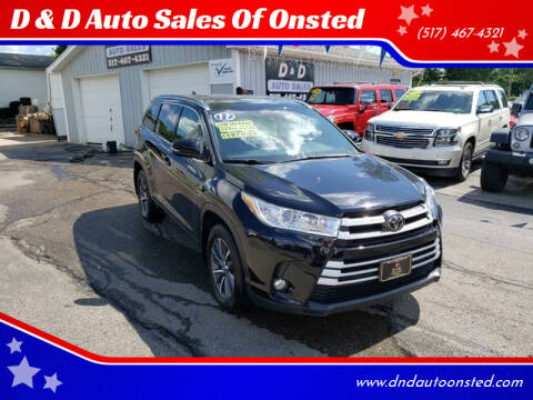 2017 Toyota Highlander for sale at D & D Auto Sales Of Onsted in Onsted   Brooklyn MI