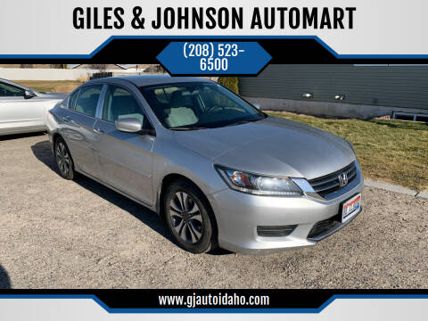 2013 Honda Accord for sale at GILES & JOHNSON AUTOMART in Idaho Falls ID