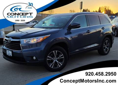 2016 Toyota Highlander for sale at CONCEPT MOTORS INC in Sheboygan WI