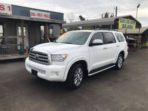 2011 Toyota Sequoia for sale at Texas 1 Auto Finance in Kemah TX