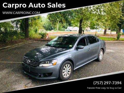 2012 Volkswagen Passat for sale at Carpro Auto Sales in Chesapeake VA