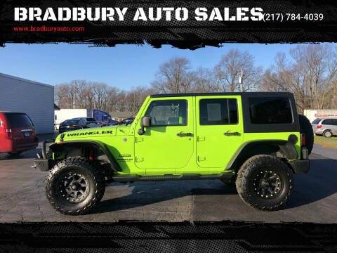 2013 Jeep Wrangler Unlimited for sale at BRADBURY AUTO SALES in Gibson City IL