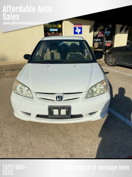 2005 Honda Civic for sale at Affordable Auto Sales in Dallas TX