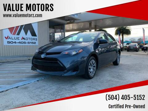 2017 Toyota Corolla for sale at VALUE MOTORS in Kenner LA