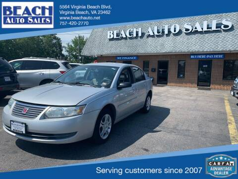2005 Saturn Ion for sale at Beach Auto Sales in Virginia Beach VA