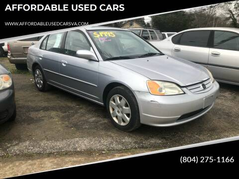 2001 Honda Civic for sale at AFFORDABLE USED CARS in Richmond VA