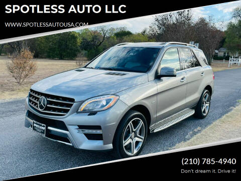 2012 Mercedes-Benz M-Class for sale at SPOTLESS AUTO LLC in San Antonio TX