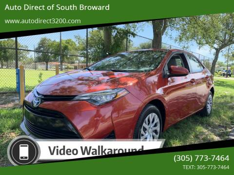 2017 Toyota Corolla for sale at Auto Direct of South Broward in Miramar FL