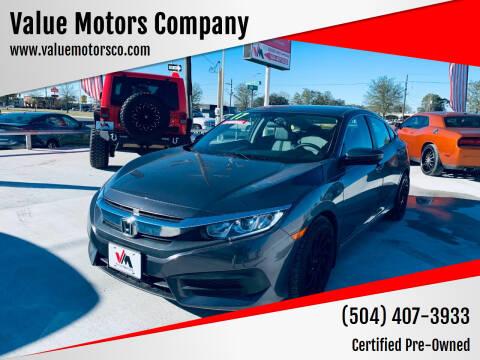 2017 Honda Civic for sale at Value Motors Company in Marrero LA