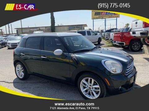 2012 MINI Cooper Countryman for sale at Escar Auto - 9809 Montana Ave Lot in El Paso TX