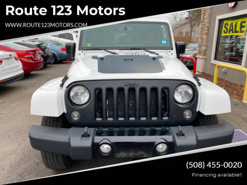2014 Jeep Wrangler Unlimited for sale at Route 123 Motors in Norton MA