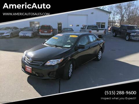 2013 Toyota Corolla for sale at AmericAuto in Des Moines IA