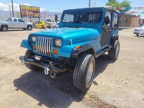1993 Jeep Wrangler for sale at Bickham Used Cars in Alamogordo NM