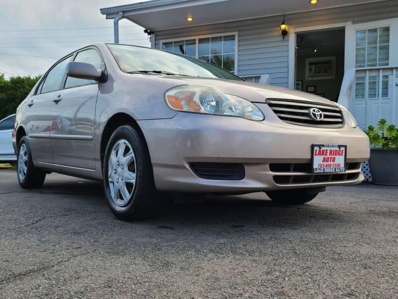 2003 Toyota Corolla for sale at Lake Ridge Auto Sales in Woodbridge VA