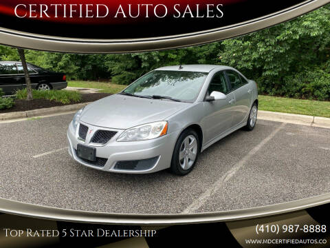 2010 Pontiac G6 for sale at CERTIFIED AUTO SALES in Severn MD