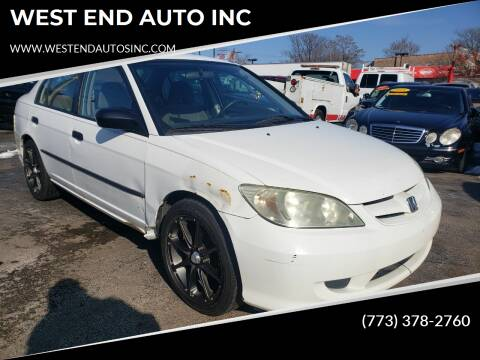 2004 Honda Civic for sale at WEST END AUTO INC in Chicago IL