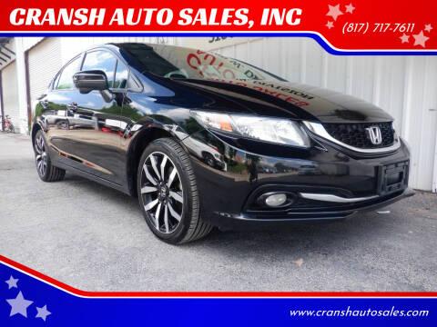 2014 Honda Civic for sale at CRANSH AUTO SALES, INC in Arlington TX