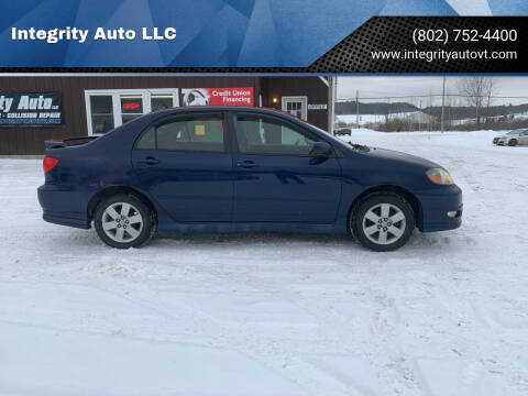 2007 Toyota Corolla for sale at Integrity Auto LLC in Sheldon VT