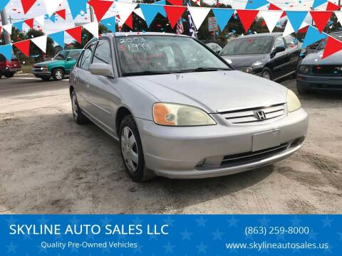 2003 Honda Civic for sale at SKYLINE AUTO SALES LLC in Winter Haven FL