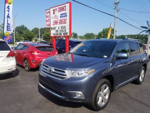 2012 Toyota Highlander for sale at 1st Choice Auto Sales in Newport News VA