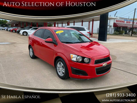 2016 Chevrolet Sonic for sale at Auto Selection of Houston in Houston TX