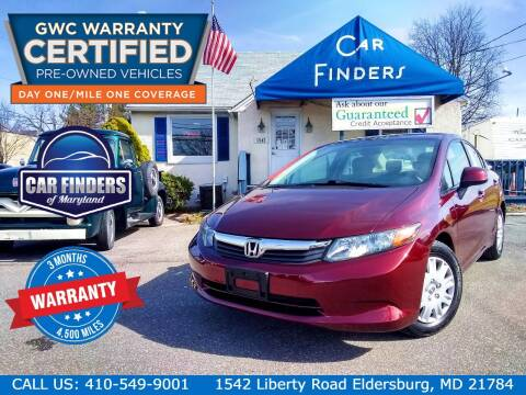 2012 Honda Civic for sale at CAR FINDERS OF MARYLAND LLC - Certified Cars in Eldersburg MD