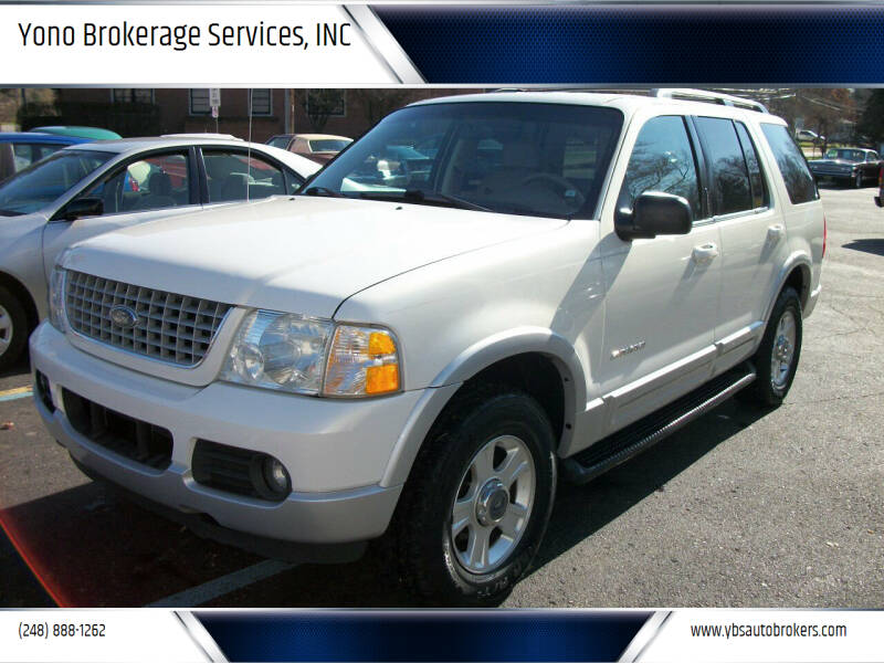 2002 Ford Explorer for sale at Yono Brokerage Services, INC in Farmington MI