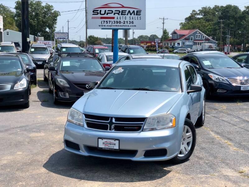 2013 Dodge Avenger for sale at Supreme Auto Sales in Chesapeake VA