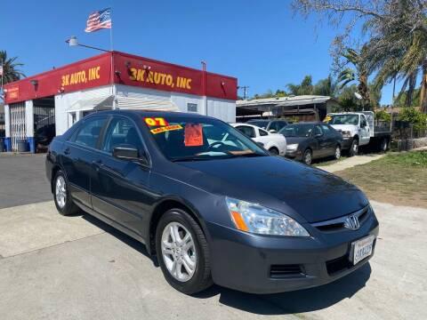 2007 Honda Accord for sale at 3K Auto in Escondido CA