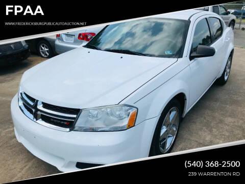 2012 Dodge Avenger for sale at FPAA in Fredericksburg VA