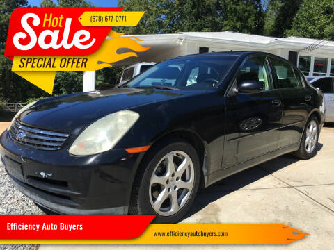 2003 Infiniti G35 for sale at Efficiency Auto Buyers in Milton GA