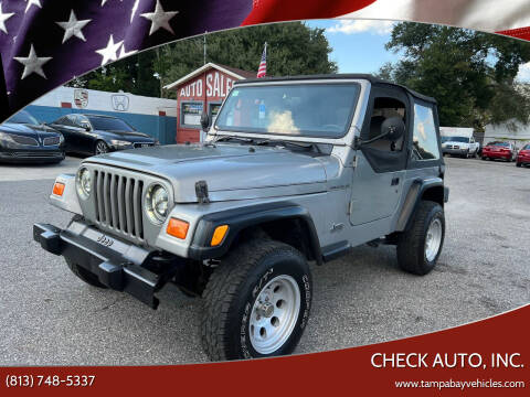 2000 Jeep Wrangler for sale at CHECK AUTO, INC. in Tampa FL