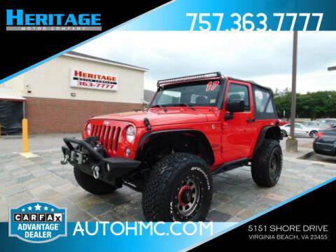 2017 Jeep Wrangler for sale at Heritage Motor Company in Virginia Beach VA