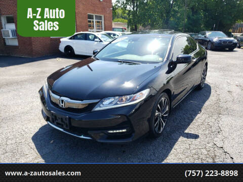 2016 Honda Accord for sale at A-Z Auto Sales in Newport News VA