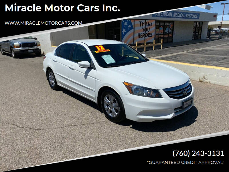 2012 Honda Accord for sale at Miracle Motor Cars Inc. in Victorville CA