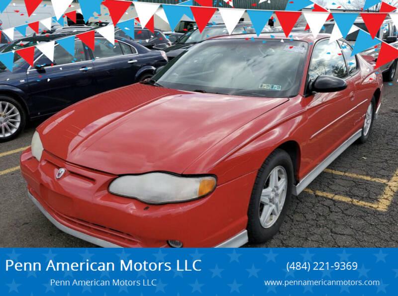 2002 Chevrolet Monte Carlo for sale at Penn American Motors LLC in Allentown PA