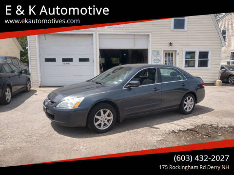 2003 Honda Accord for sale at E & K Automotive in Derry NH