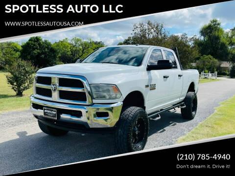 2015 RAM Ram Pickup 2500 for sale at SPOTLESS AUTO LLC in San Antonio TX