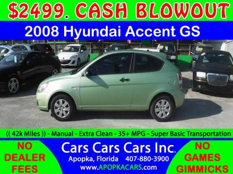 2008 Hyundai Accent for sale at CARS CARS CARS INC in Apopka FL