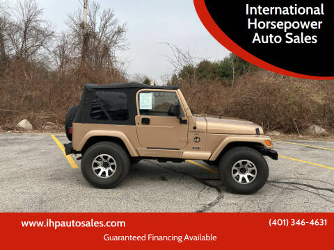 1999 Jeep Wrangler for sale at International Horsepower Auto Sales in Warwick RI