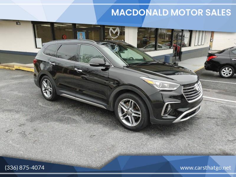 2017 Hyundai Santa Fe for sale at MacDonald Motor Sales in High Point NC