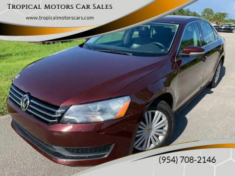2012 Volkswagen Passat for sale at Tropical Motors Car Sales in Deerfield Beach FL