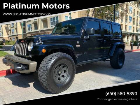 2017 Jeep Wrangler Unlimited for sale at Platinum Motors in San Bruno CA