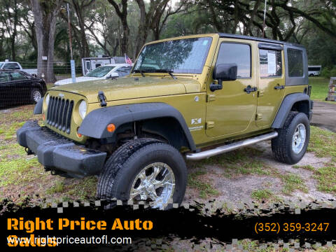 2008 Jeep Wrangler Unlimited for sale at Right Price Auto Sales-Gainesville in Gainesville FL
