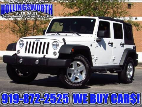 2016 Jeep Wrangler Unlimited for sale at Hollingsworth Auto Sales in Raleigh NC