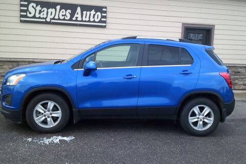 2015 Chevrolet Trax for sale at STAPLES AUTO SALES in Staples MN