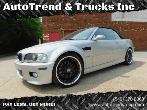 2002 BMW M3 for sale at AutoTrend & Trucks Inc in Fredericksburg VA