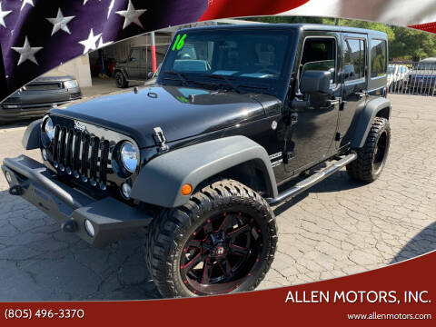 2016 Jeep Wrangler Unlimited for sale at Allen Motors, Inc. in Thousand Oaks CA