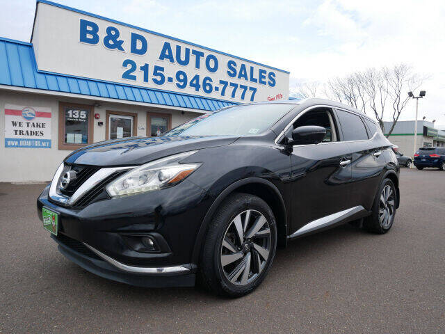 2016 Nissan Murano for sale at B & D Auto Sales Inc. in Fairless Hills PA