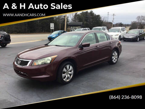2008 Honda Accord for sale at A & H Auto Sales in Greenville SC